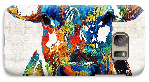 Bull Galaxy S7 Case - Colorful Cow Art - Mootown - By Sharon Cummings by Sharon Cummings