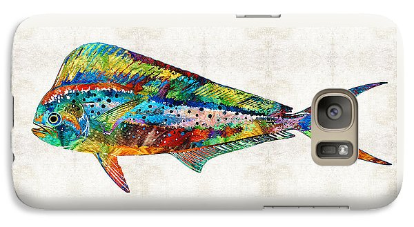 Colorful Dolphin Fish By Sharon Cummings Galaxy S7 Case by Sharon Cummings