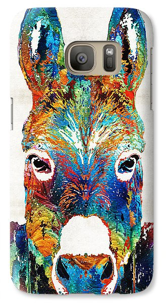 Colorful Donkey Art - Mr. Personality - By Sharon Cummings Galaxy S7 Case by Sharon Cummings
