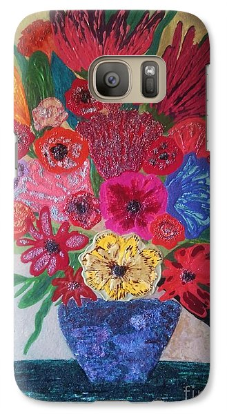 Galaxy Case featuring the painting Colorful Flowers by Jasna Gopic