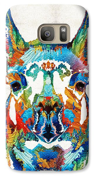 Colorful Llama Art - The Prince - By Sharon Cummings Galaxy S7 Case by Sharon Cummings