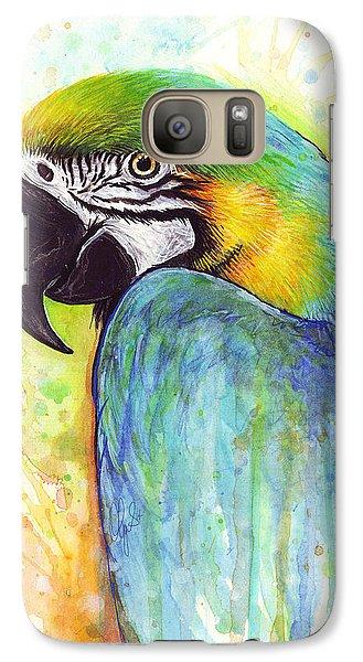 Macaw Painting Galaxy Case by Olga Shvartsur