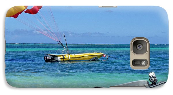 Galaxy Case featuring the photograph Colorful Parachute - Waiting To Parasail by Val Miller