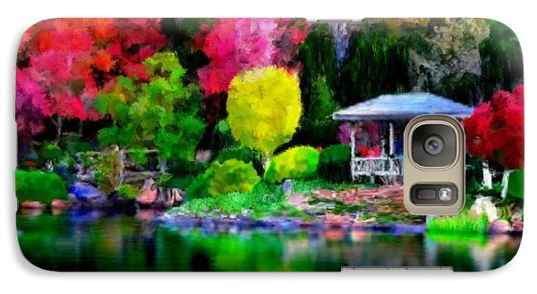 Galaxy Case featuring the painting Colorful Park At The Lake by Bruce Nutting