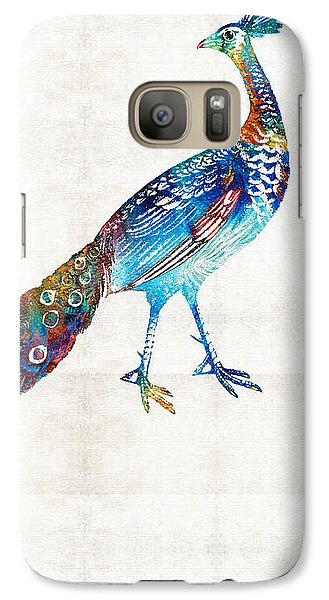 Peacock Galaxy S7 Case - Colorful Peacock Art By Sharon Cummings by Sharon Cummings