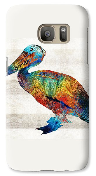 Colorful Pelican Art By Sharon Cummings Galaxy Case by Sharon Cummings