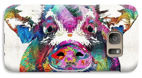 Colorful Pig Art - Squeal Appeal - By Sharon Cummings Galaxy S7 Case by Sharon Cummings