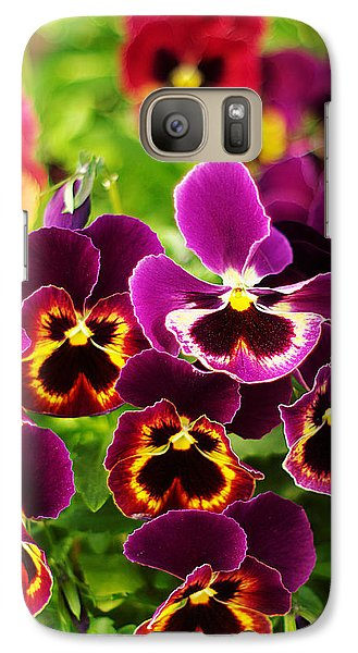 Galaxy Case featuring the photograph Colorful Purple Pansies by Suzanne Powers