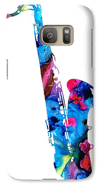 Colorful Saxophone 2 By Sharon Cummings Galaxy S7 Case by Sharon Cummings