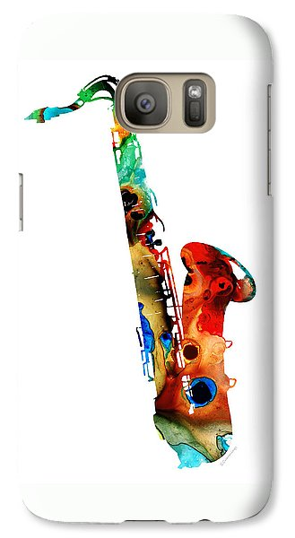 Music Galaxy S7 Case - Colorful Saxophone By Sharon Cummings by Sharon Cummings
