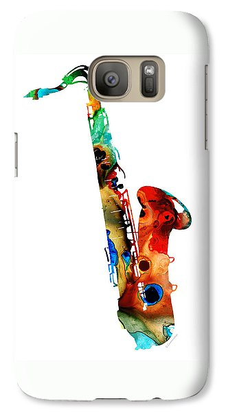 Jazz Galaxy S7 Case - Colorful Saxophone By Sharon Cummings by Sharon Cummings