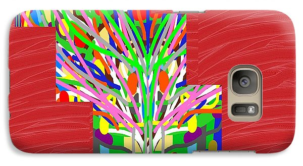 Galaxy Case featuring the photograph Colorful Tree Of Life Abstract Red Sparkle Base by Navin Joshi