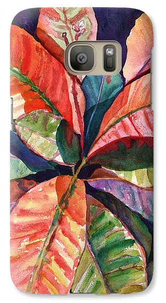 Galaxy Case featuring the painting Colorful Tropical Leaves 1 by Marionette Taboniar
