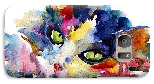 Colorful Tubby Cat Painting Galaxy Case by Svetlana Novikova