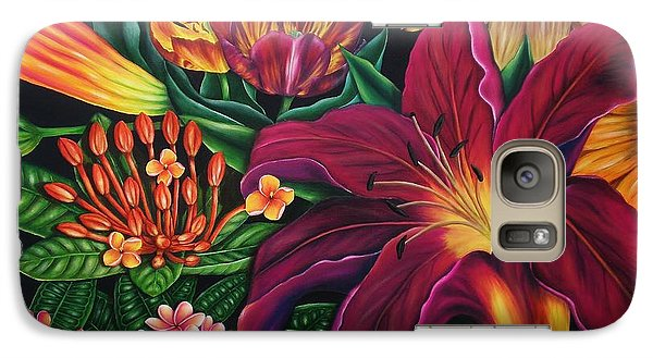Galaxy Case featuring the painting Colors Garden by Paula L