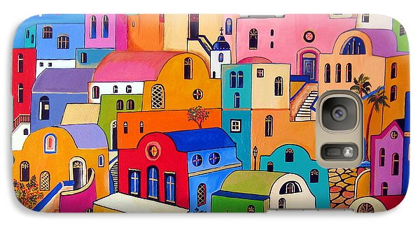 Galaxy Case featuring the painting Colours In Santorini by Roberto Gagliardi