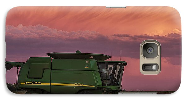 Galaxy Case featuring the photograph Combine At Sunset by Rob Graham