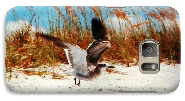 Galaxy Case featuring the photograph Windy Seagull Landing by Belinda Lee