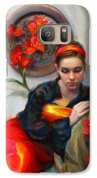 Common Threads - Divine Feminine In Silk Red Dress Galaxy S7 Case by Talya Johnson