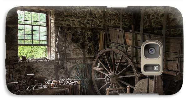 Galaxy Case featuring the photograph Conestoga Wagon At The Blacksmith - Wagon Repair by Gary Heller