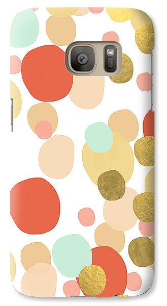 Peach Galaxy S7 Case - Confetti- Abstract Art by Linda Woods