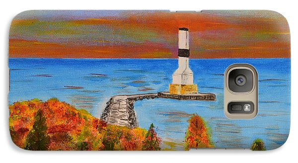 Galaxy Case featuring the painting Fall, Conneaut Ohio Light House by Melvin Turner