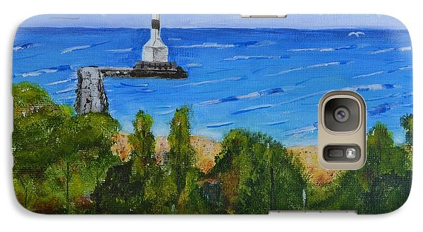 Galaxy Case featuring the painting Summer, Conneaut Ohio Lighthouse by Melvin Turner