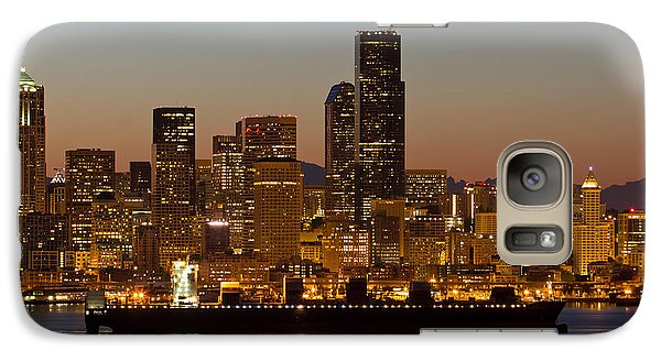 Galaxy Case featuring the photograph Container Ship On Puget Sound Along Seattle Skyline by JPLDesigns