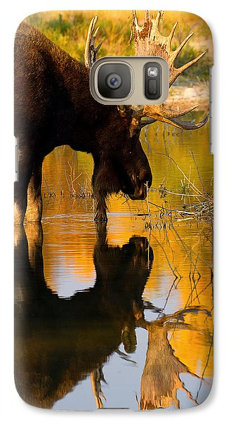 Galaxy Case featuring the photograph Contemplative Moose by Aaron Whittemore