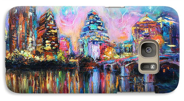 Austin Galaxy S7 Case - Contemporary Downtown Austin Art Painting Night Skyline Cityscape Painting Texas by Svetlana Novikova
