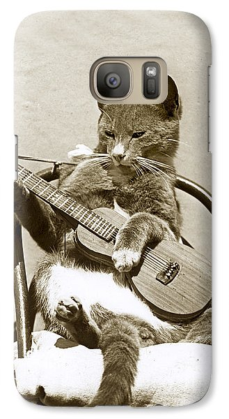 Galaxy Case featuring the photograph Cool Cat Playing A Guitar Circa 1900 Historical Photo By Photo  Henry King Nourse by California Views Mr Pat Hathaway Archives