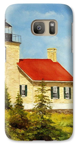 Galaxy Case featuring the painting Copper Harbor Lighthouse by Lee Piper