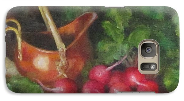 Galaxy Case featuring the painting Copper Pot And Radishes Still Life Painting by Cheri Wollenberg