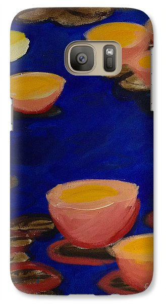 Galaxy Case featuring the painting Coral Lily Pond by Anita Lewis