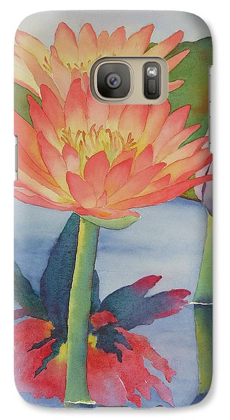 Galaxy Case featuring the painting Coral Waterlilies by Judy Mercer