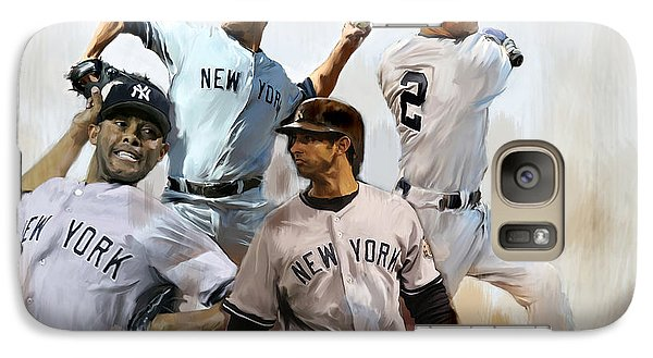 New York Yankees Galaxy S7 Case - Core  Derek Jeter Mariano Rivera  Andy Pettitte Jorge Posada by Iconic Images Art Gallery David Pucciarelli