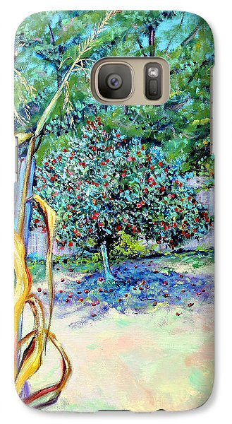 Galaxy Case featuring the painting Corn Stalk And Apple Tree  Autumn Lovers by Asha Carolyn Young