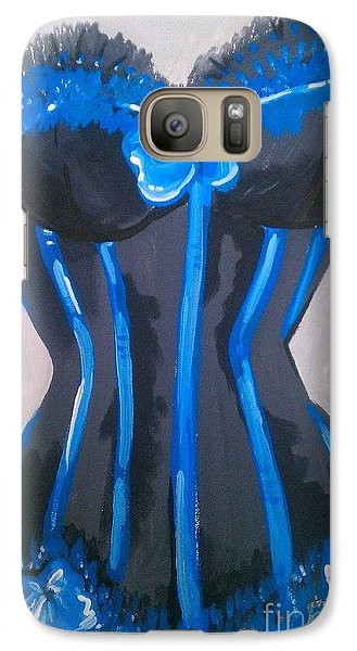 Galaxy Case featuring the painting Corset Blue Lace by Marisela Mungia