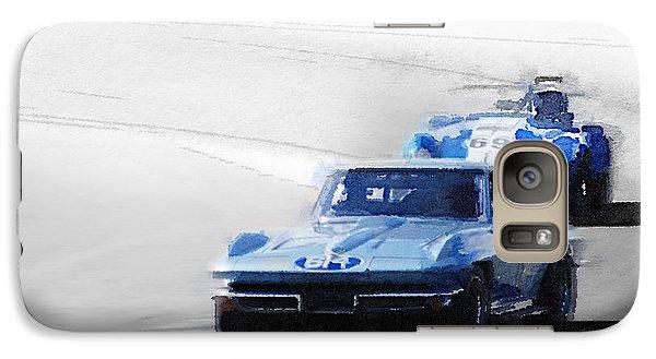 Cobra Galaxy S7 Case - Corvette And Ac Cobra Shelby Watercolor by Naxart Studio
