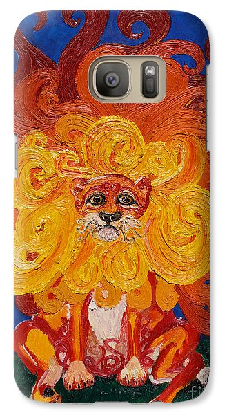 Galaxy Case featuring the painting Cosmic Lion by Cassandra Buckley