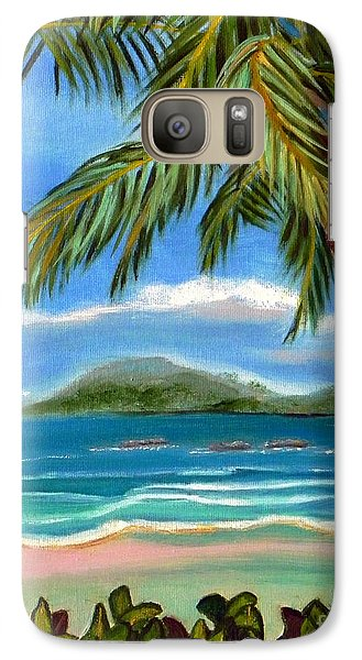 Galaxy Case featuring the painting Costa Rica Highs   Costa Rica Seascape Mountains And Palm Trees by Shelia Kempf