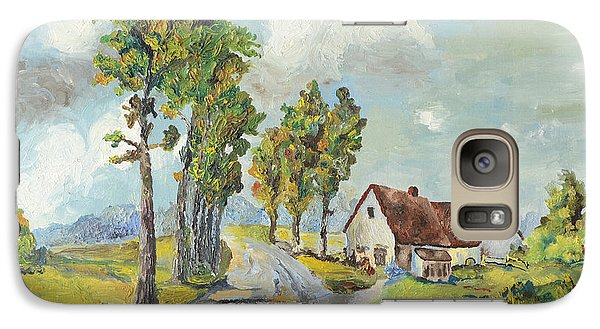 Galaxy Case featuring the painting Cottage On Poplar Lane by Mary Ellen Anderson
