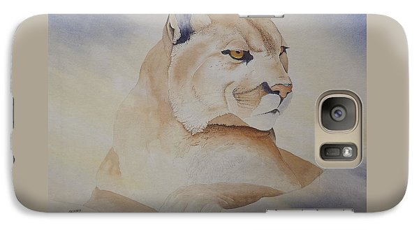 Galaxy Case featuring the painting Cougar On Watch by Richard Faulkner