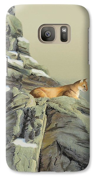 Galaxy Case featuring the painting Cougar Perch by Jane Girardot