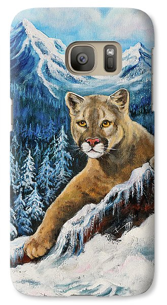 Galaxy Case featuring the painting Cougar Sedona Red Rocks  by Bob and Nadine Johnston