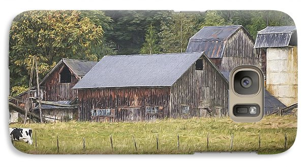 Galaxy Case featuring the painting Country Art - Rustic Old Barns With Cow In The Pasture by Jordan Blackstone