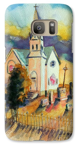 Galaxy Case featuring the painting Country Church At Sunset by Kathy Braud