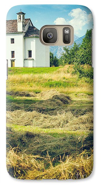 Galaxy Case featuring the photograph Country Church With Hay by Silvia Ganora