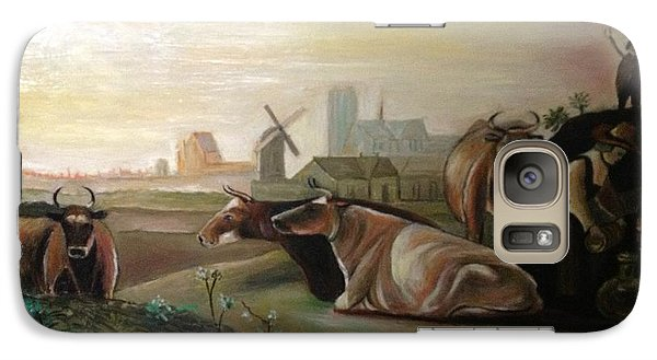 Galaxy Case featuring the painting Country Landscapes With Cows by Egidio Graziani
