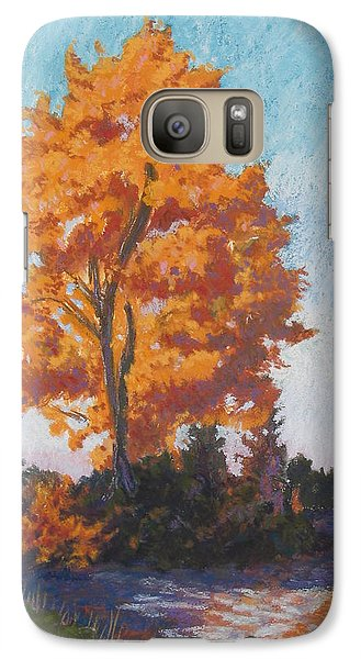 Galaxy Case featuring the painting Country Road Cold Fall Morning by Robert Decker